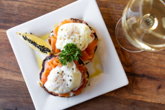 SALMON ENGLISH MUFFIN WITH SOFT POACHED EGGS